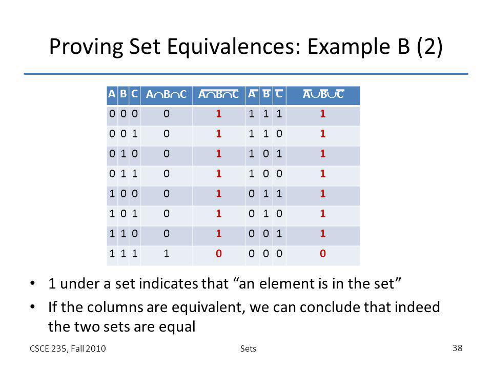 Proving Set Equivalences: Example B (2)