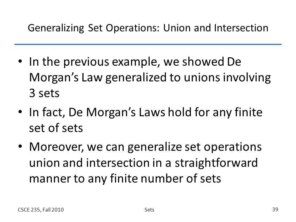 Generalizing Set Operations: Union and Intersection