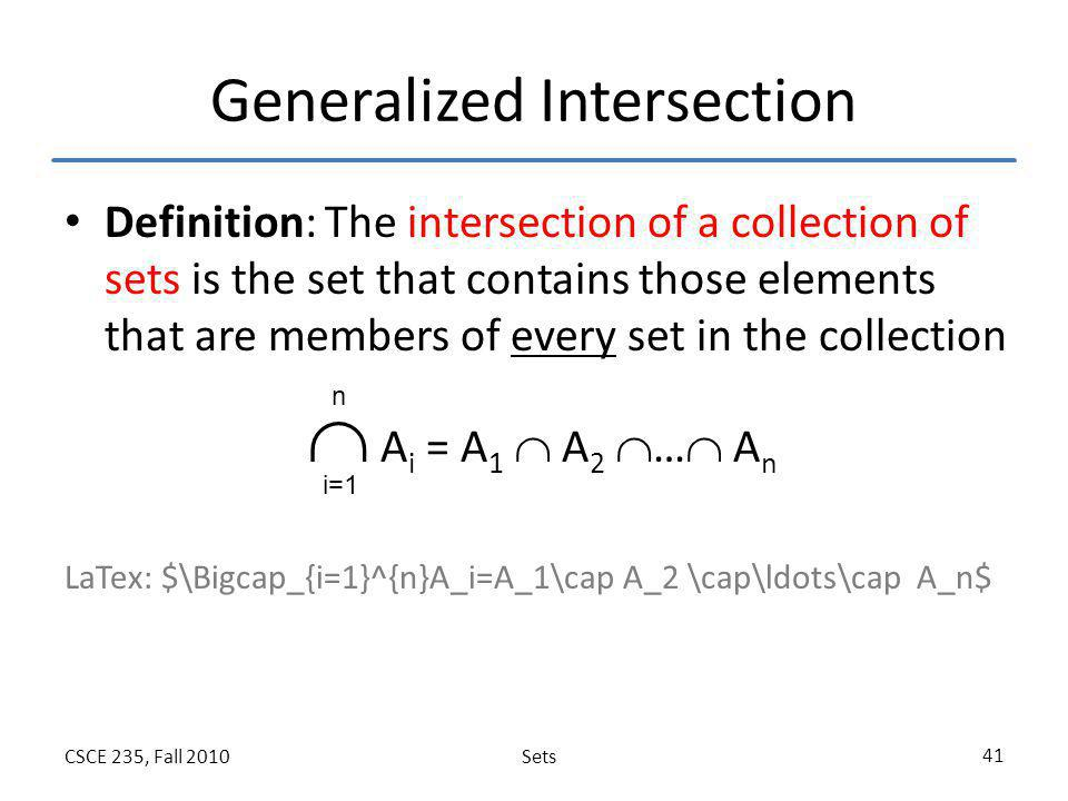 Generalized Intersection