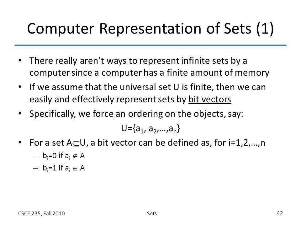 Computer Representation of Sets (1)