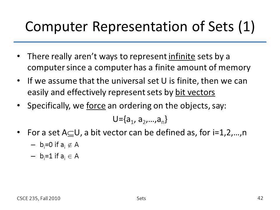 Computer Representation of Sets (1)