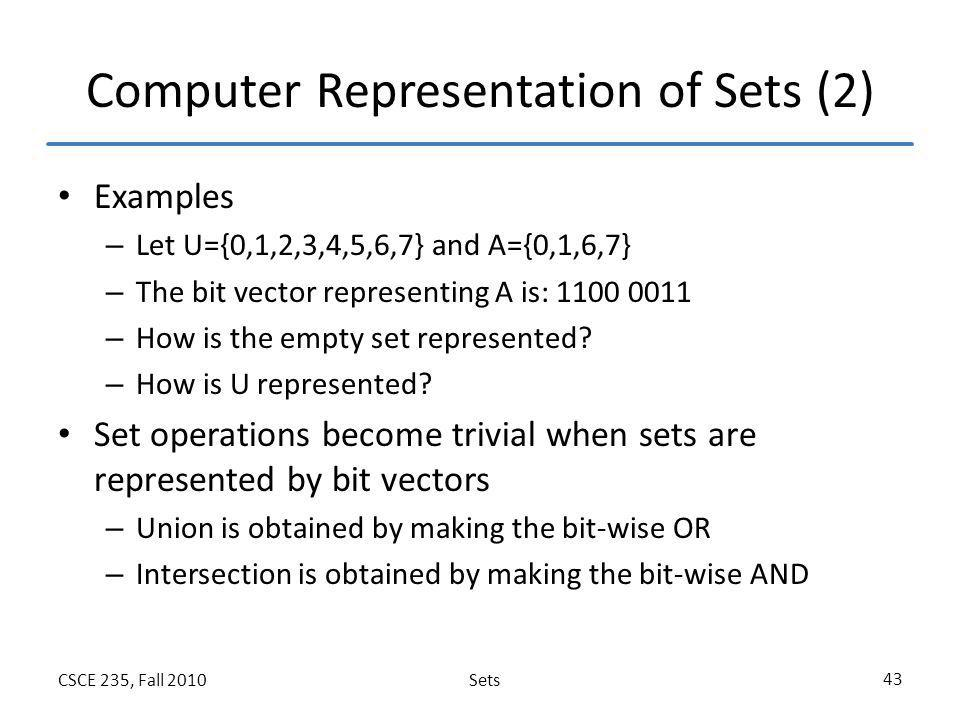 Computer Representation of Sets (2)