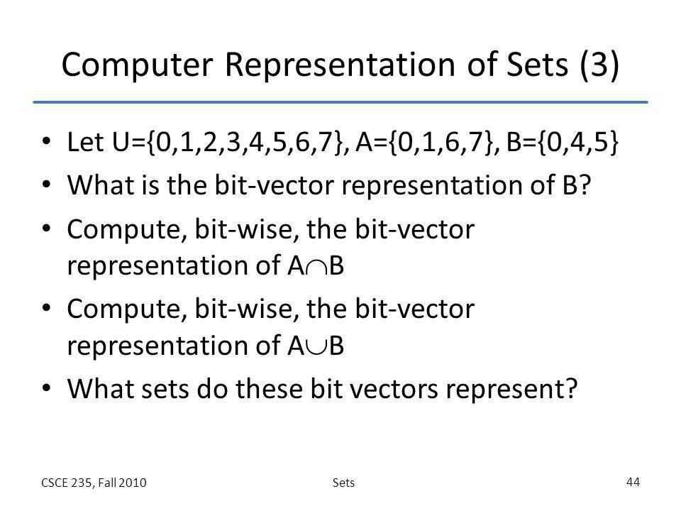 Computer Representation of Sets (3)