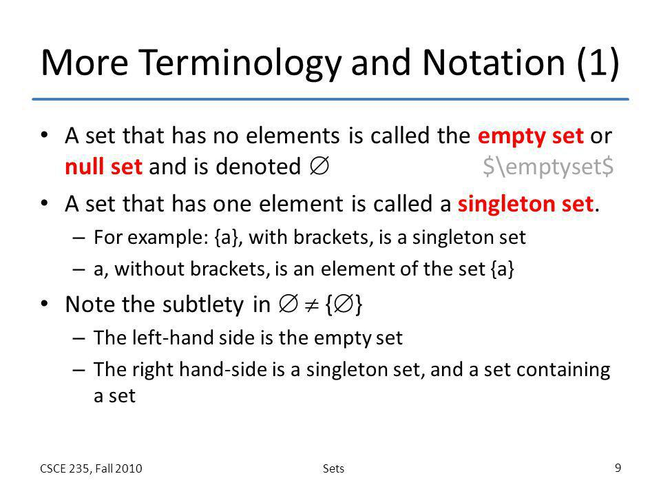 More Terminology and Notation (1)
