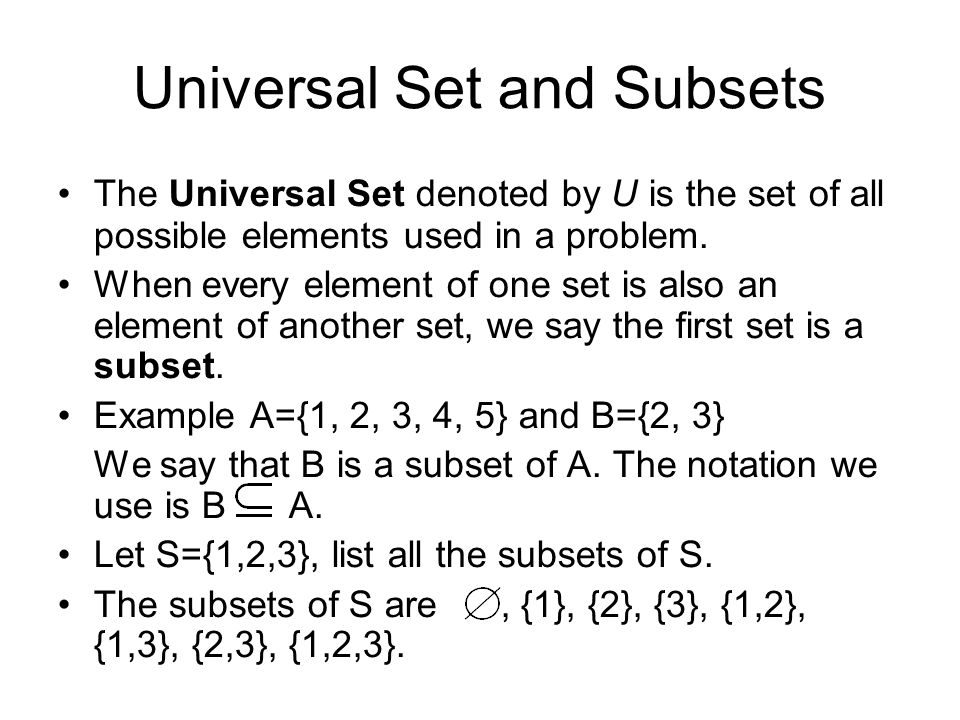 Universal Set and Subsets