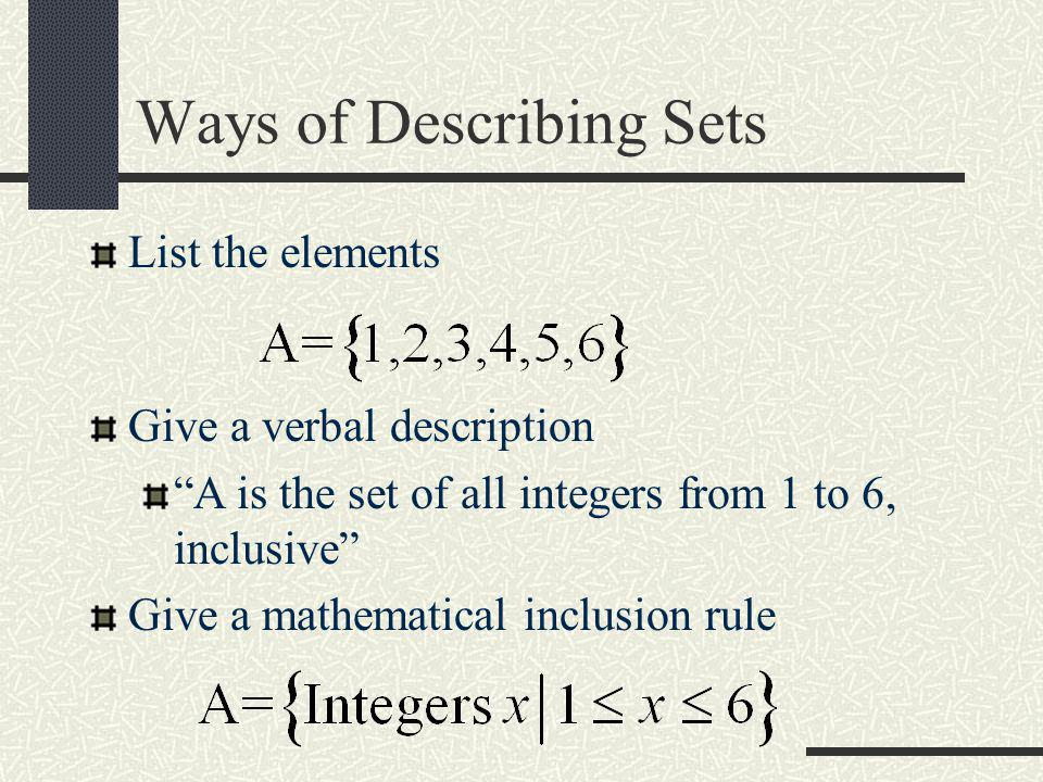 Ways of Describing Sets