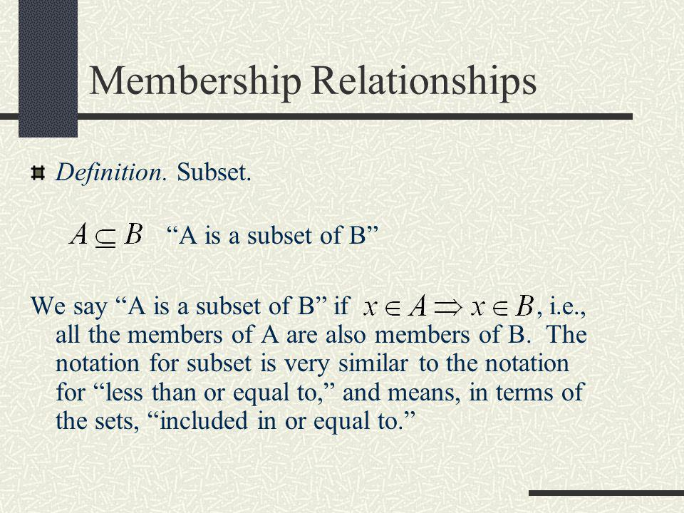 Membership Relationships