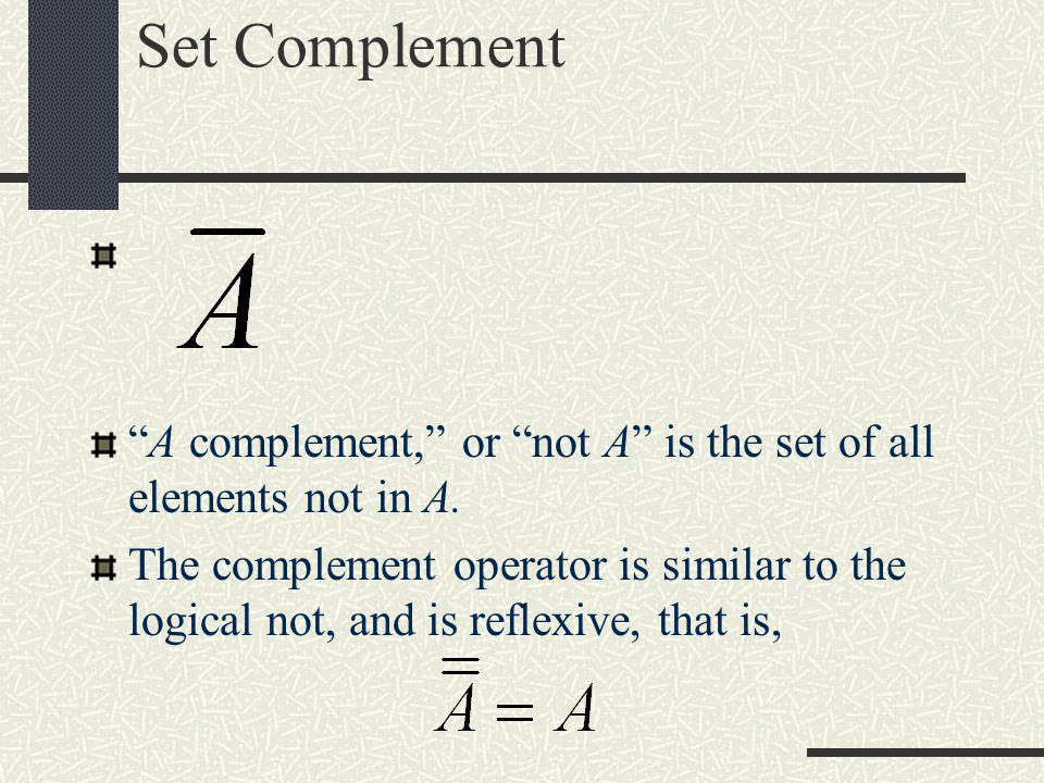 Set Complement A complement, or not A is the set of all elements not in A.