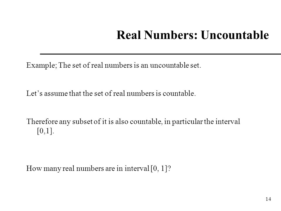 Real Numbers: Uncountable