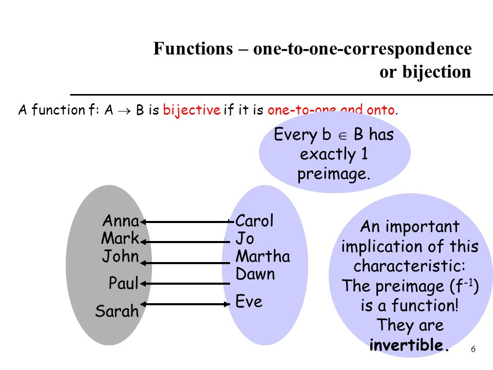 Functions – one-to-one-correspondence or bijection