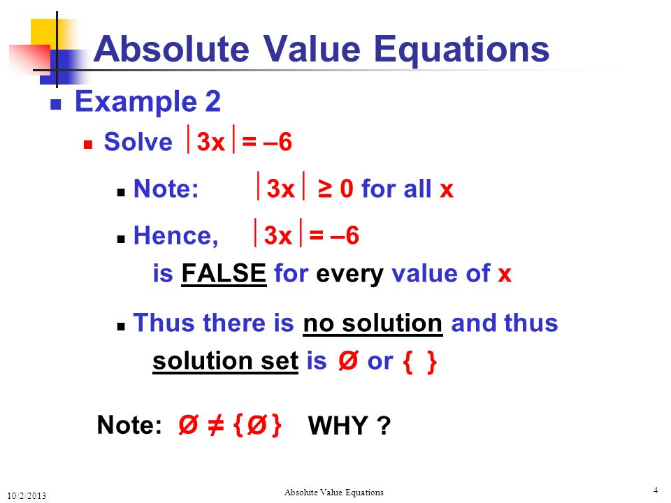 write an absolute value equation that has no solution example