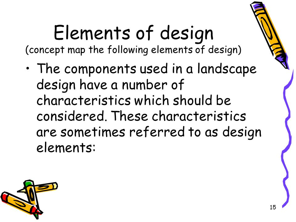 Elements of design (concept map the following elements of design)