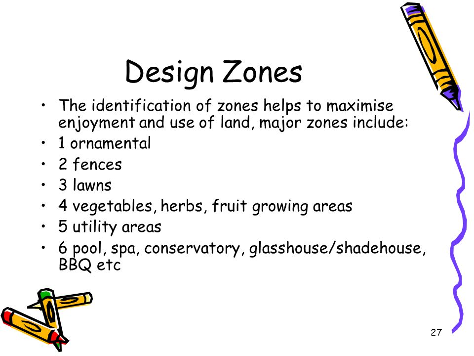 Design Zones The identification of zones helps to maximise enjoyment and use of land, major zones include: