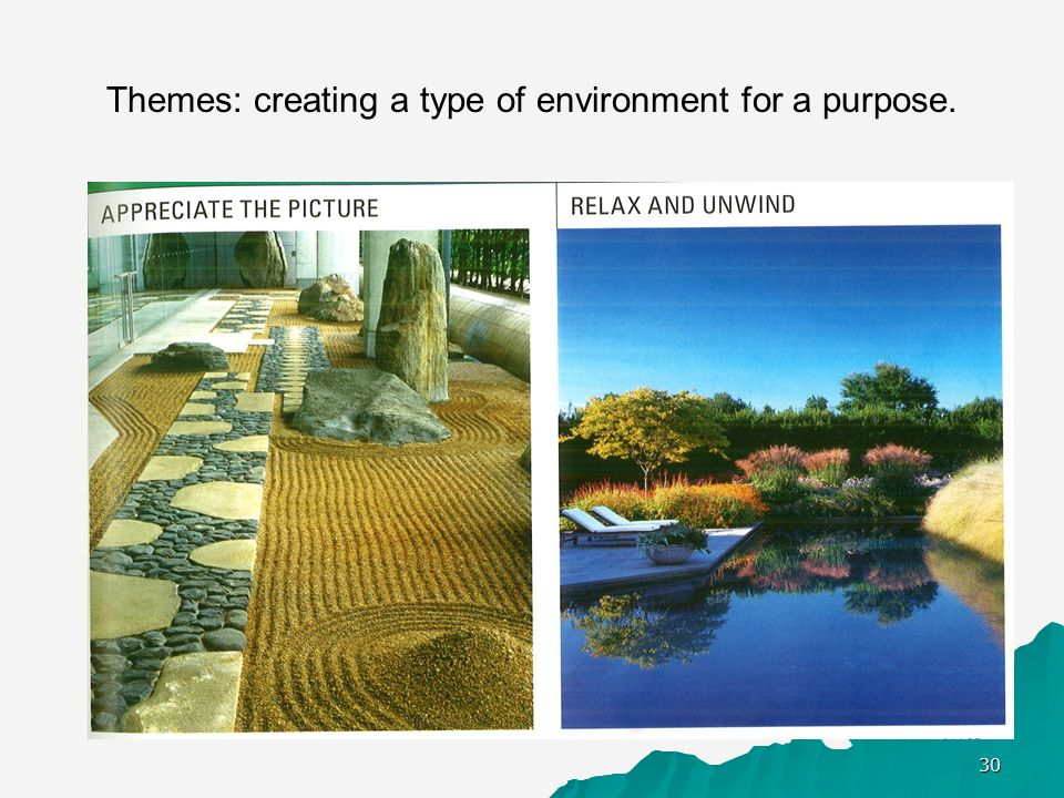 Themes: creating a type of environment for a purpose.