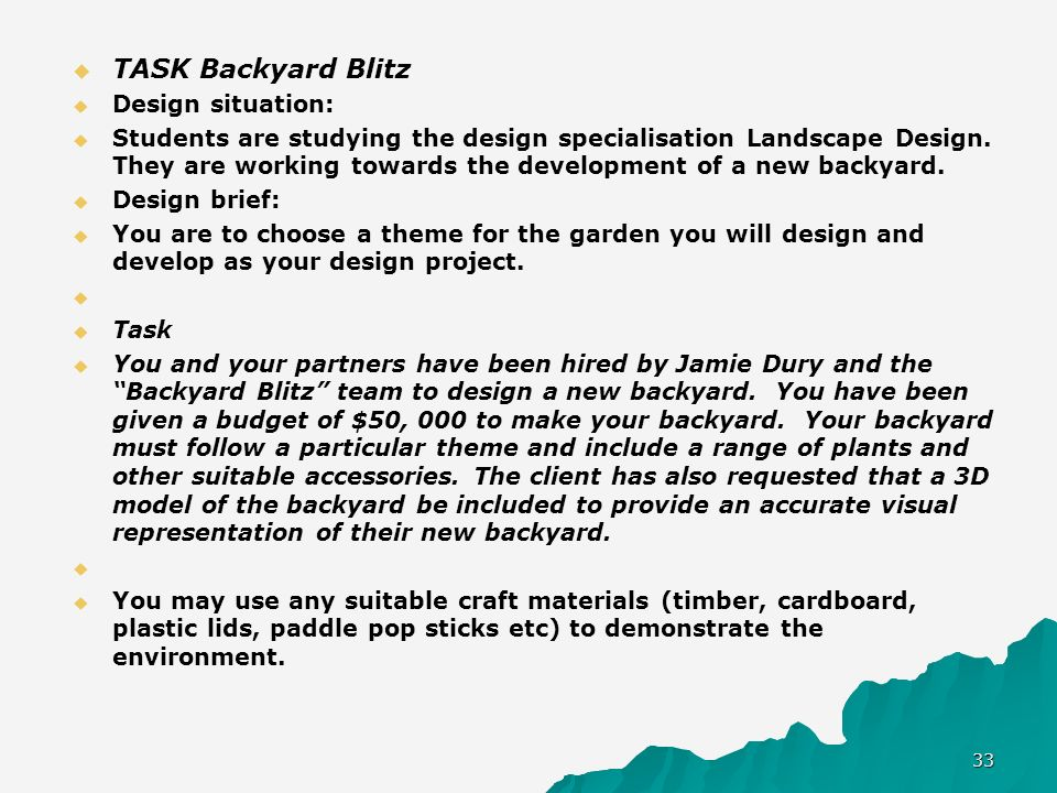 TASK Backyard Blitz Design situation: