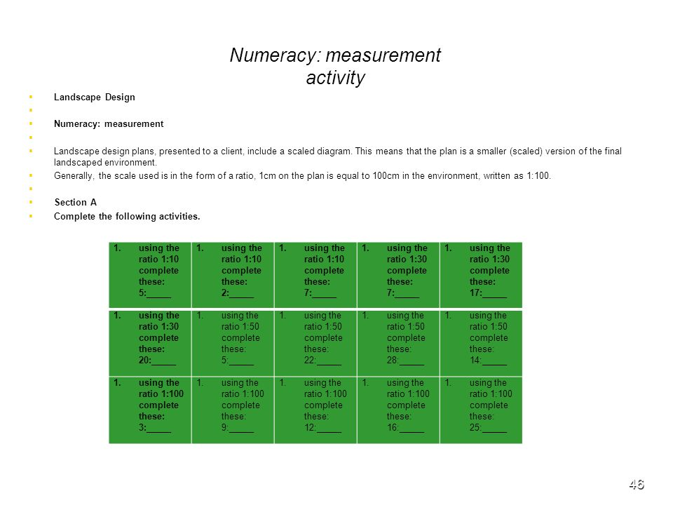 Numeracy: measurement activity