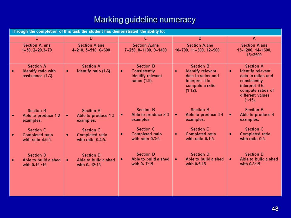 Marking guideline numeracy