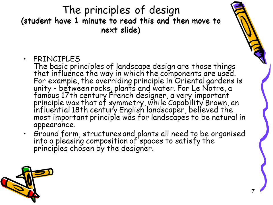 The principles of design (student have 1 minute to read this and then move to next slide)