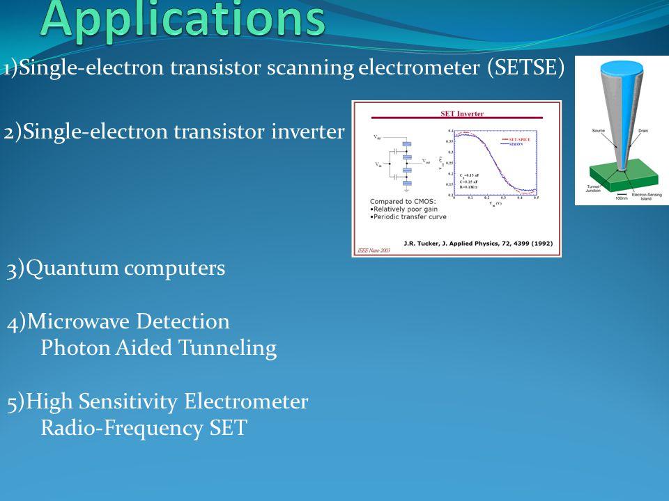 Applications 1)Single-electron transistor scanning electrometer (SETSE) 2)Single-electron transistor inverter.