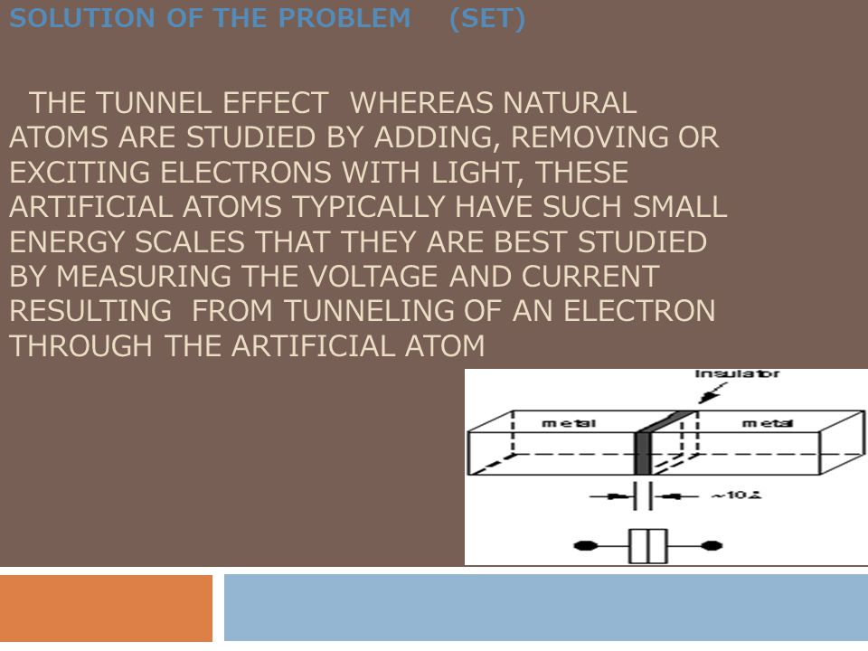 Solution of the problem (set) the tunnel effect Whereas natural atoms are studied by adding, removing or exciting electrons with light, these artificial atoms typically have such small energy scales that they are best studied by measuring the voltage and current resulting from tunneling of an electron through the artificial atom
