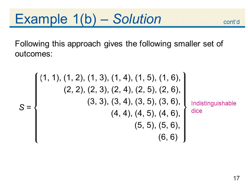 Example 1(b) – Solution cont'd. Following this approach gives the following smaller set of outcomes: