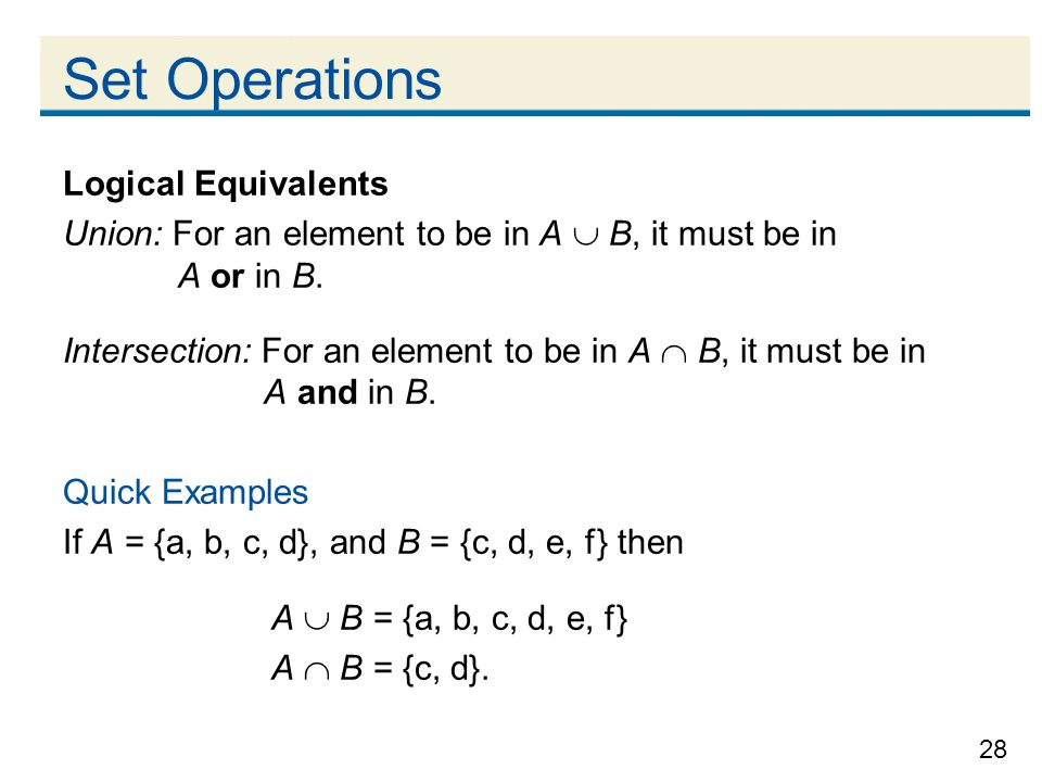 Set Operations Logical Equivalents