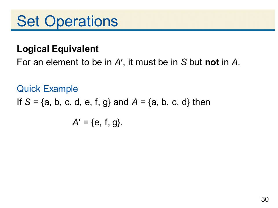 Set Operations Logical Equivalent