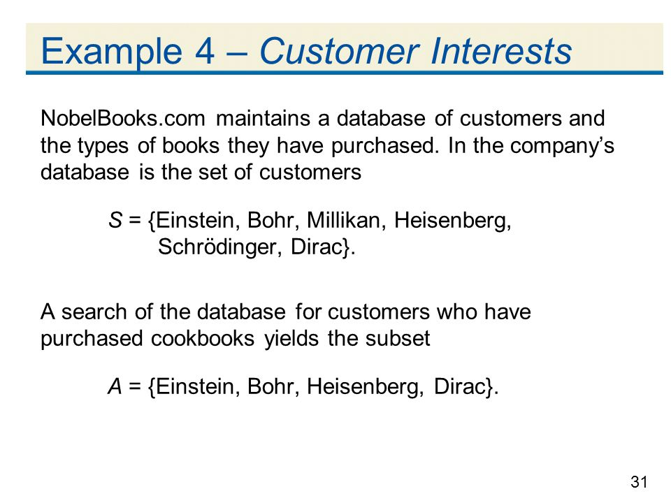 Example 4 – Customer Interests