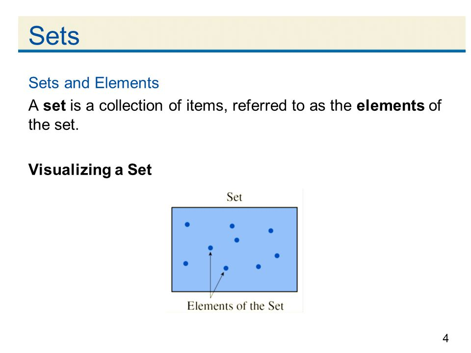 Sets Sets and Elements. A set is a collection of items, referred to as the elements of the set.