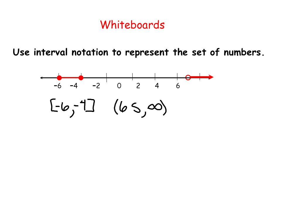 Whiteboards Use interval notation to represent the set of numbers.