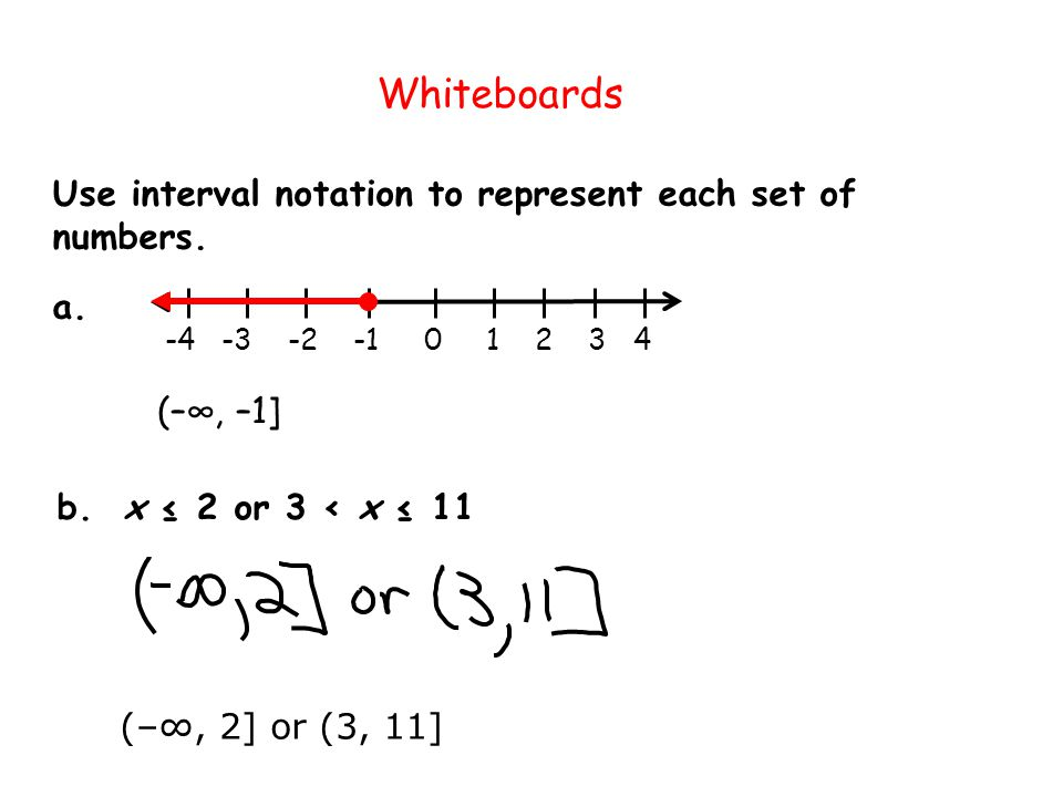 Whiteboards Use interval notation to represent each set of numbers. a.