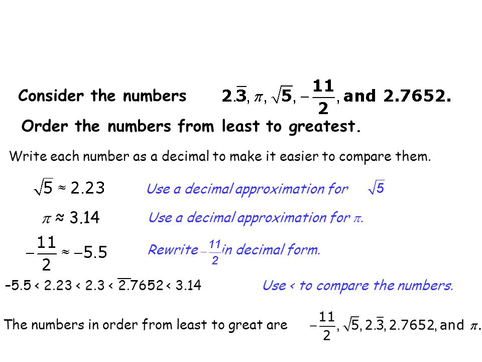 Order the numbers from least to greatest.