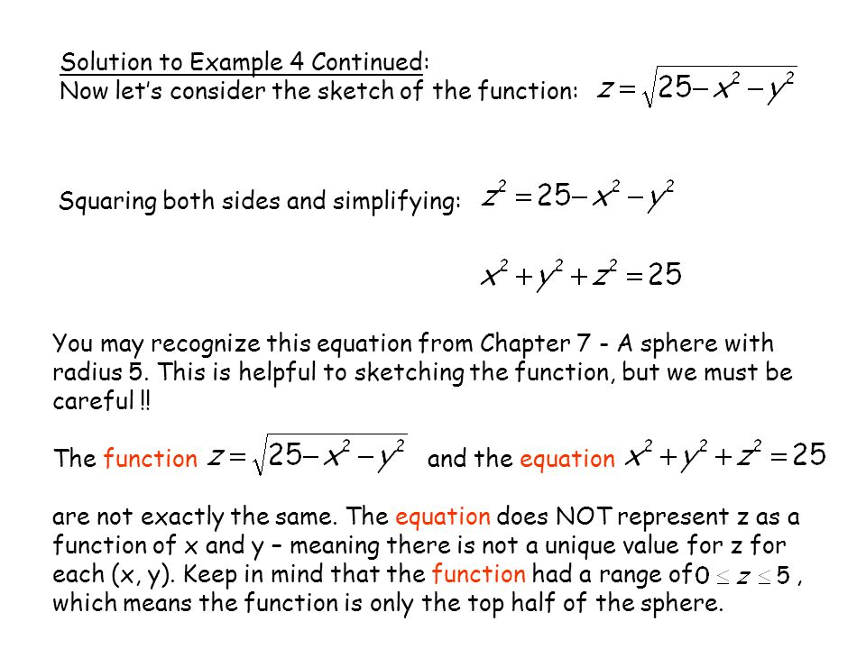 Solution to Example 4 Continued: