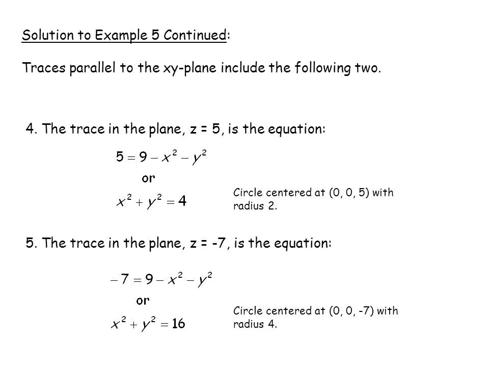 Solution to Example 5 Continued: