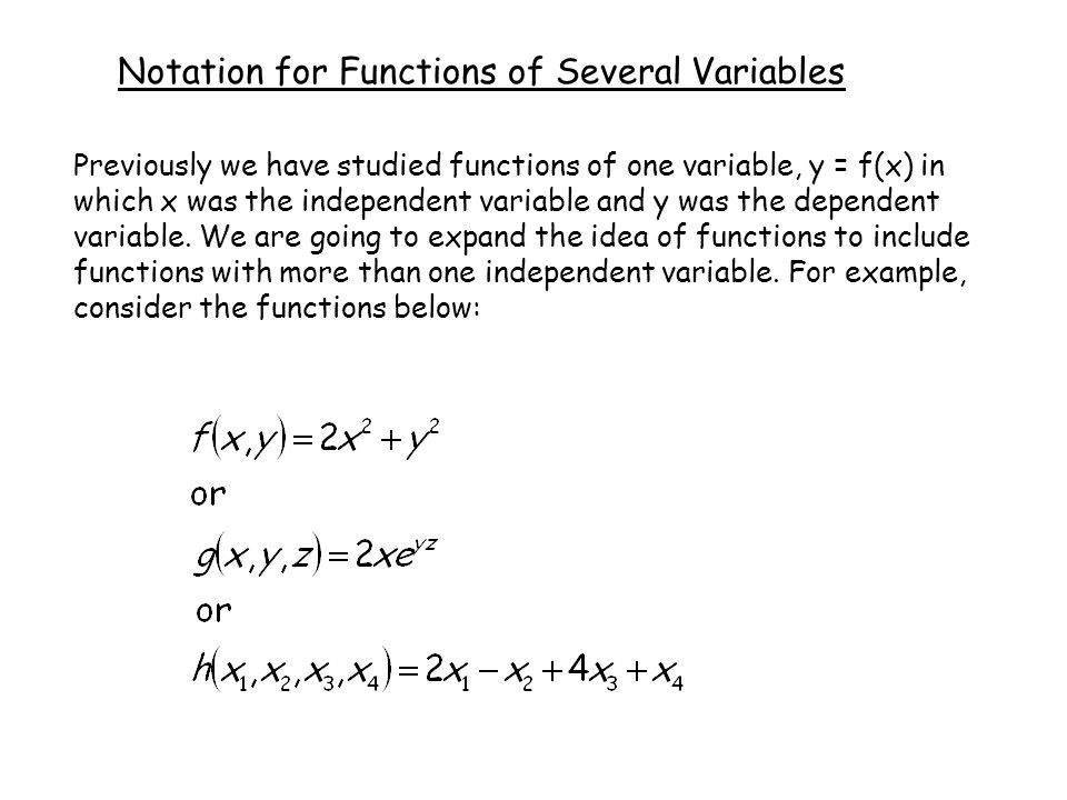 Notation for Functions of Several Variables