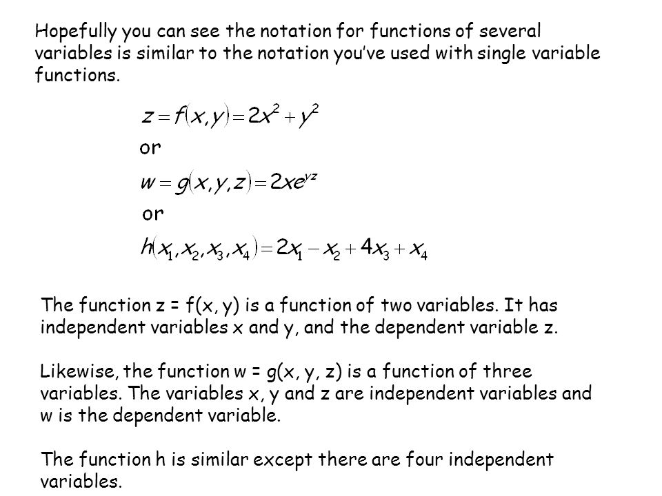Hopefully you can see the notation for functions of several variables is similar to the notation you've used with single variable functions.