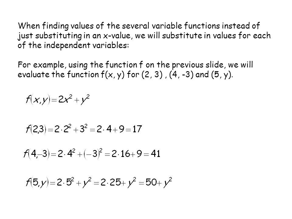 When finding values of the several variable functions instead of just substituting in an x-value, we will substitute in values for each of the independent variables: