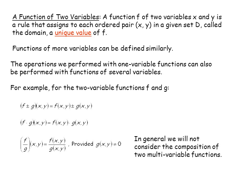 A Function of Two Variables: A function f of two variables x and y is a rule that assigns to each ordered pair (x, y) in a given set D, called the domain, a unique value of f.
