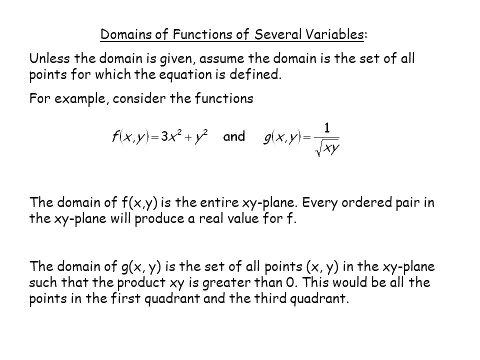 Domains of Functions of Several Variables: