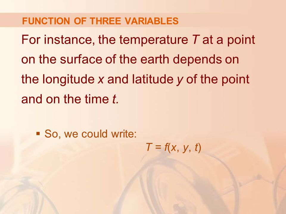 FUNCTION OF THREE VARIABLES