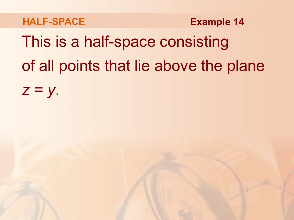 HALF-SPACE Example 14.