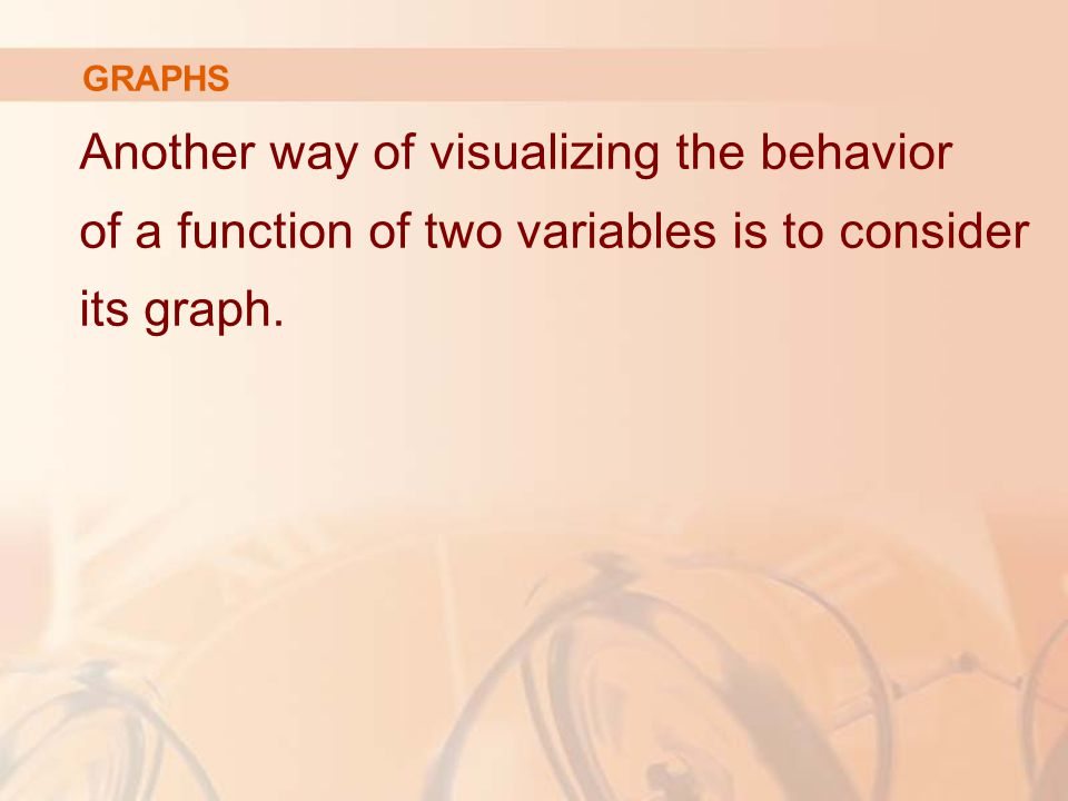 GRAPHS Another way of visualizing the behavior of a function of two variables is to consider its graph.