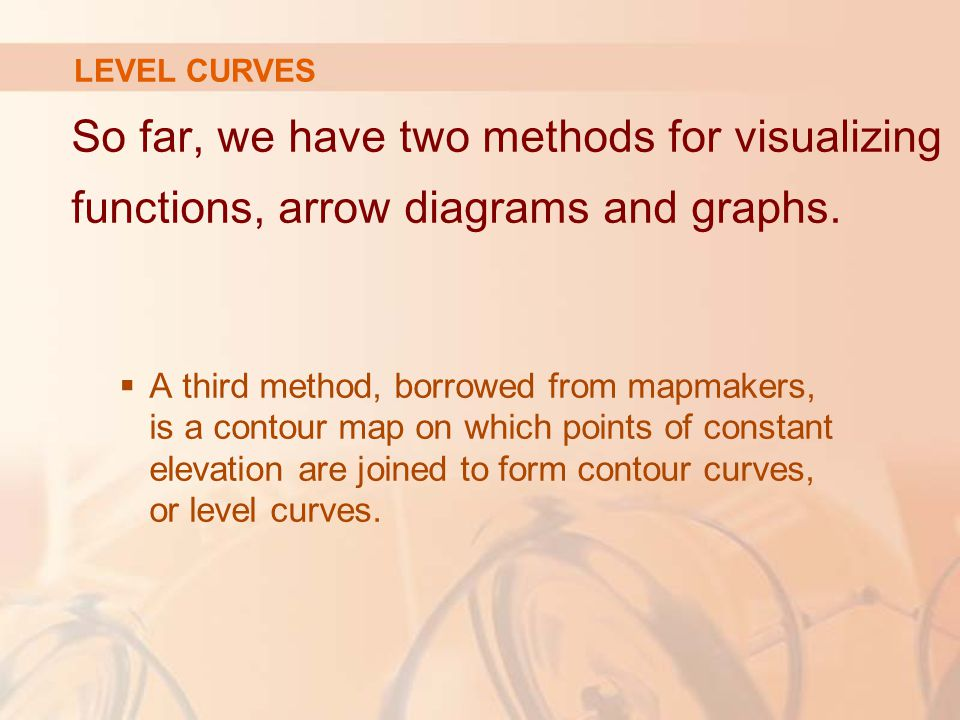 LEVEL CURVES So far, we have two methods for visualizing functions, arrow diagrams and graphs.