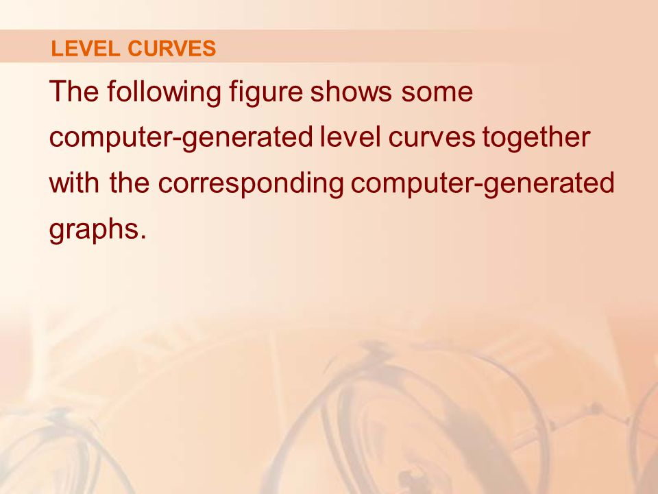 LEVEL CURVES The following figure shows some computer-generated level curves together with the corresponding computer-generated graphs.