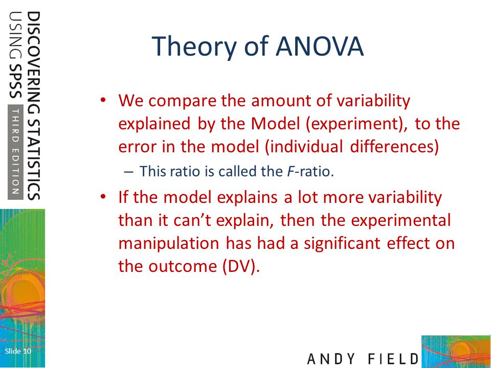Theory of ANOVA We compare the amount of variability explained by the Model (experiment), to the error in the model (individual differences)