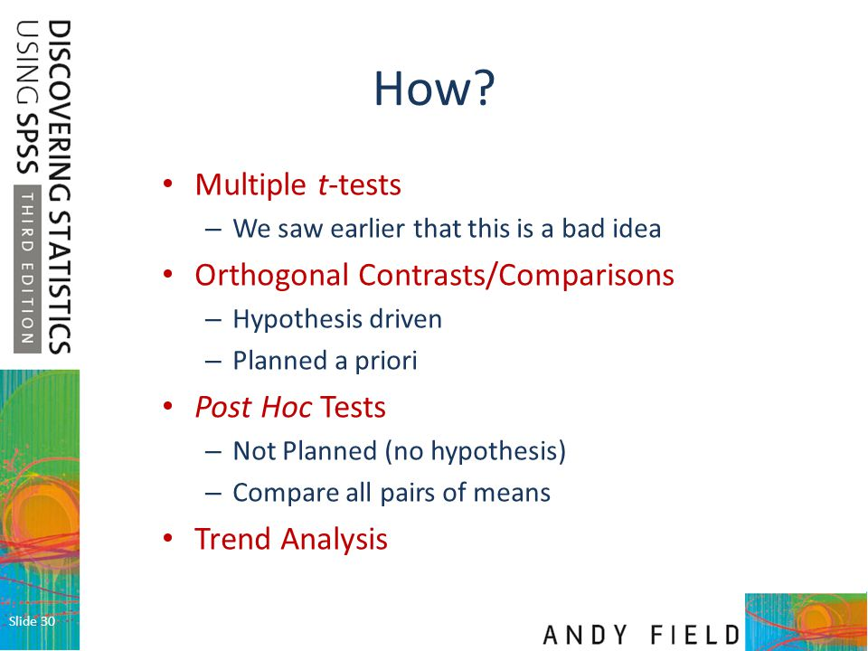 How Multiple t-tests Orthogonal Contrasts/Comparisons Post Hoc Tests