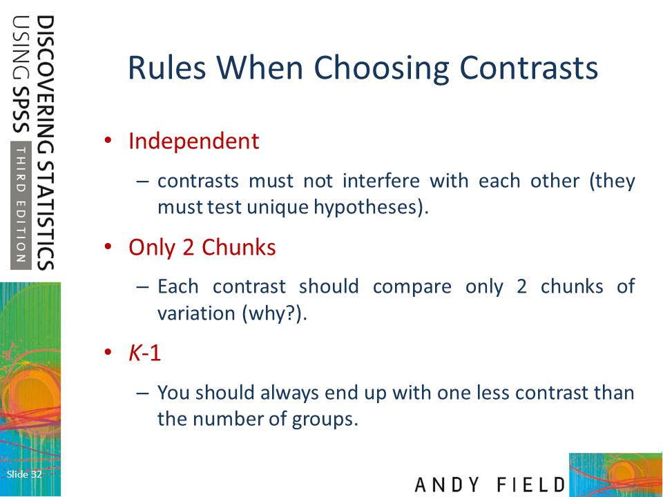 Rules When Choosing Contrasts