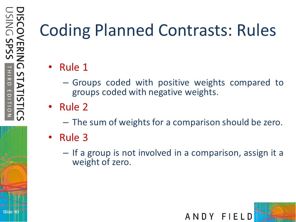 Coding Planned Contrasts: Rules