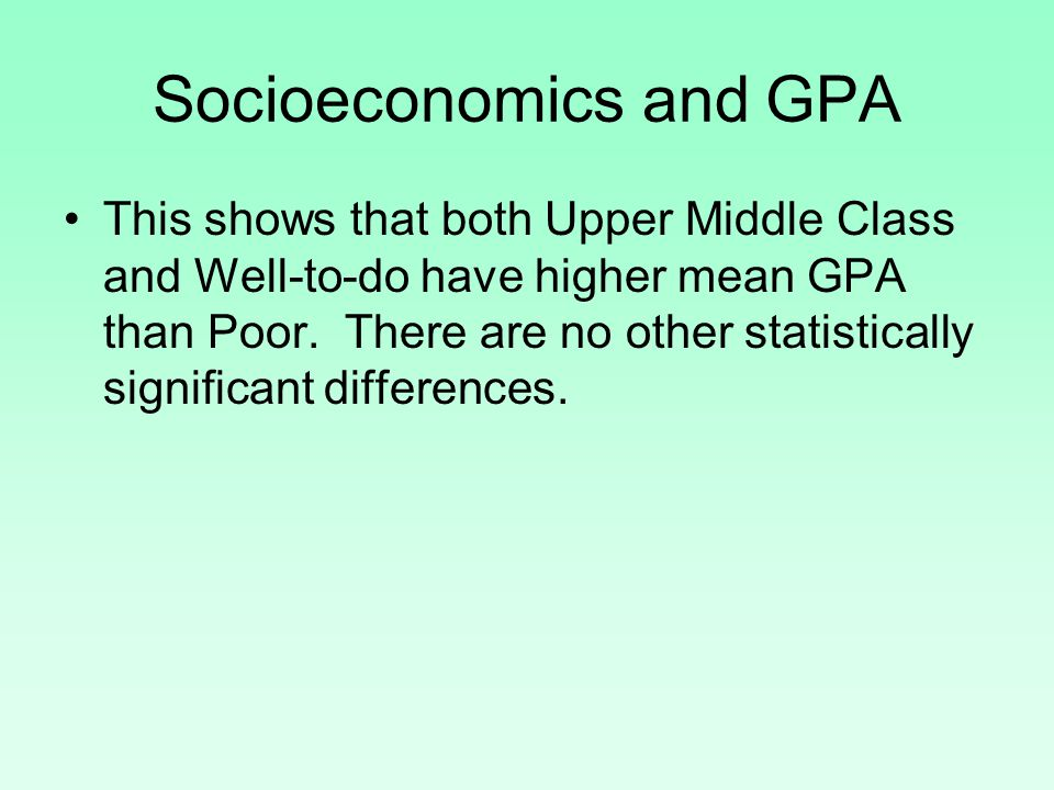 Socioeconomics and GPA