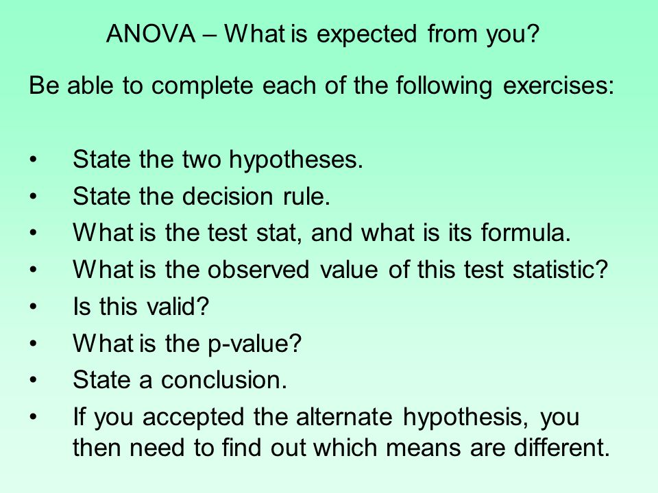 ANOVA – What is expected from you